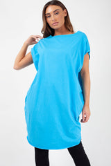made in italy oversized long top sky blue