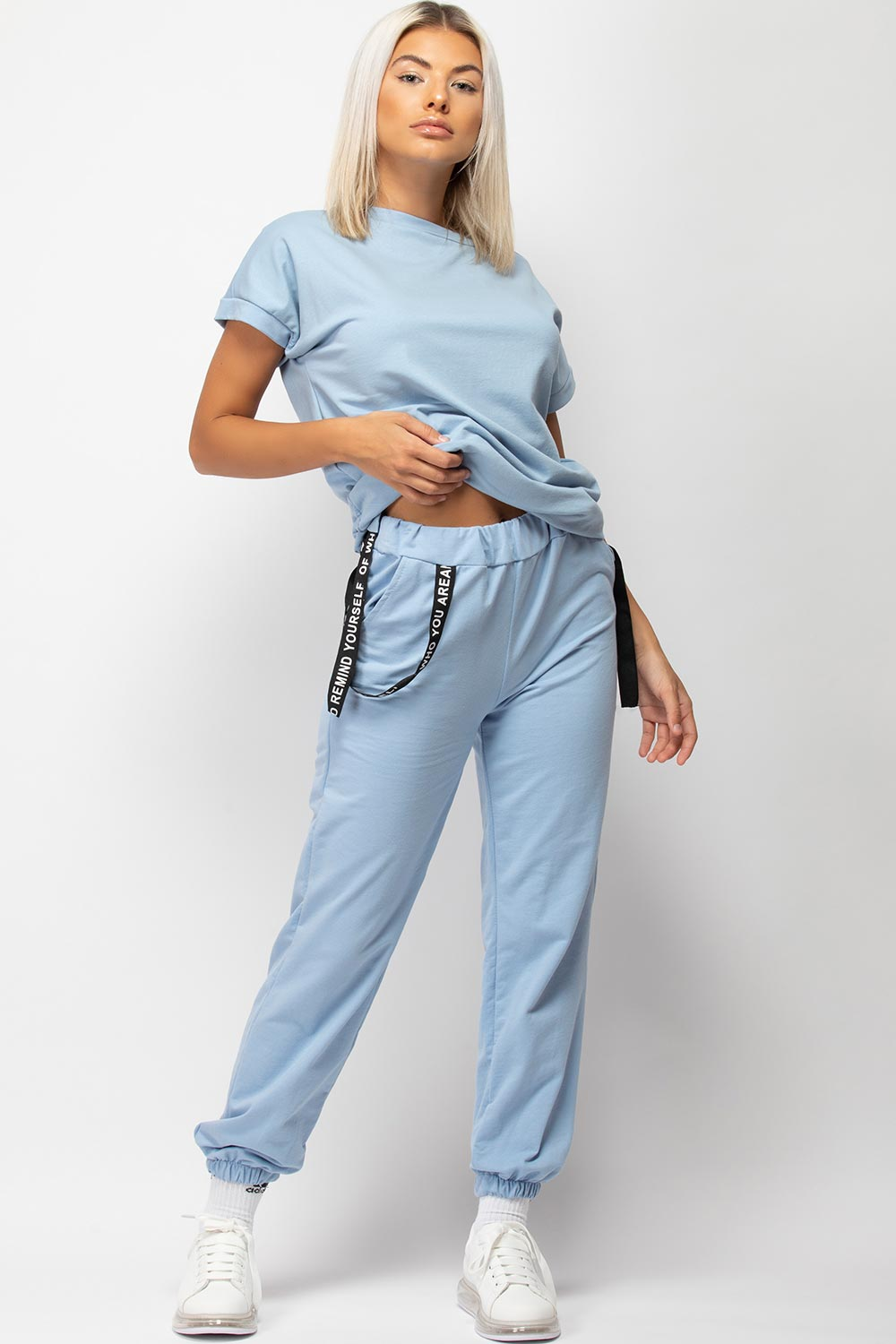 Sky Blue Boxy Lounge Set With Strap Detail