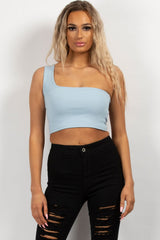 festival crop top sky blue