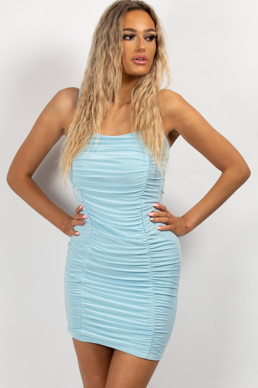ruched mini dress sky blue