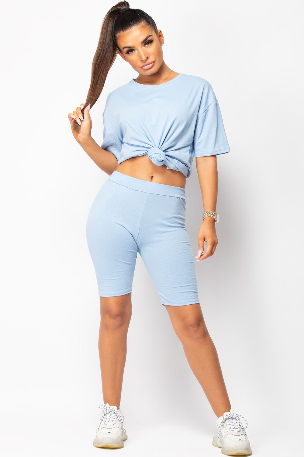 sky blue oversized tee shirt and shorts set