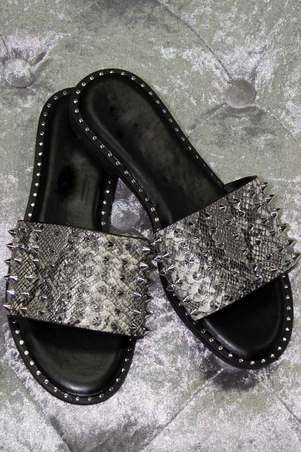 Silver Studded Snakeskin Sliders Black