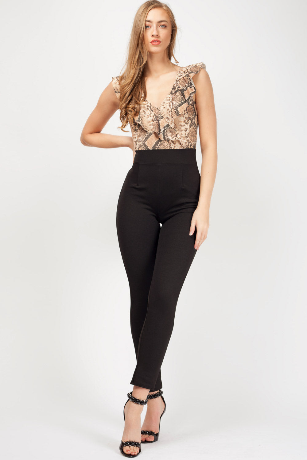 going out jumpsuit animal print