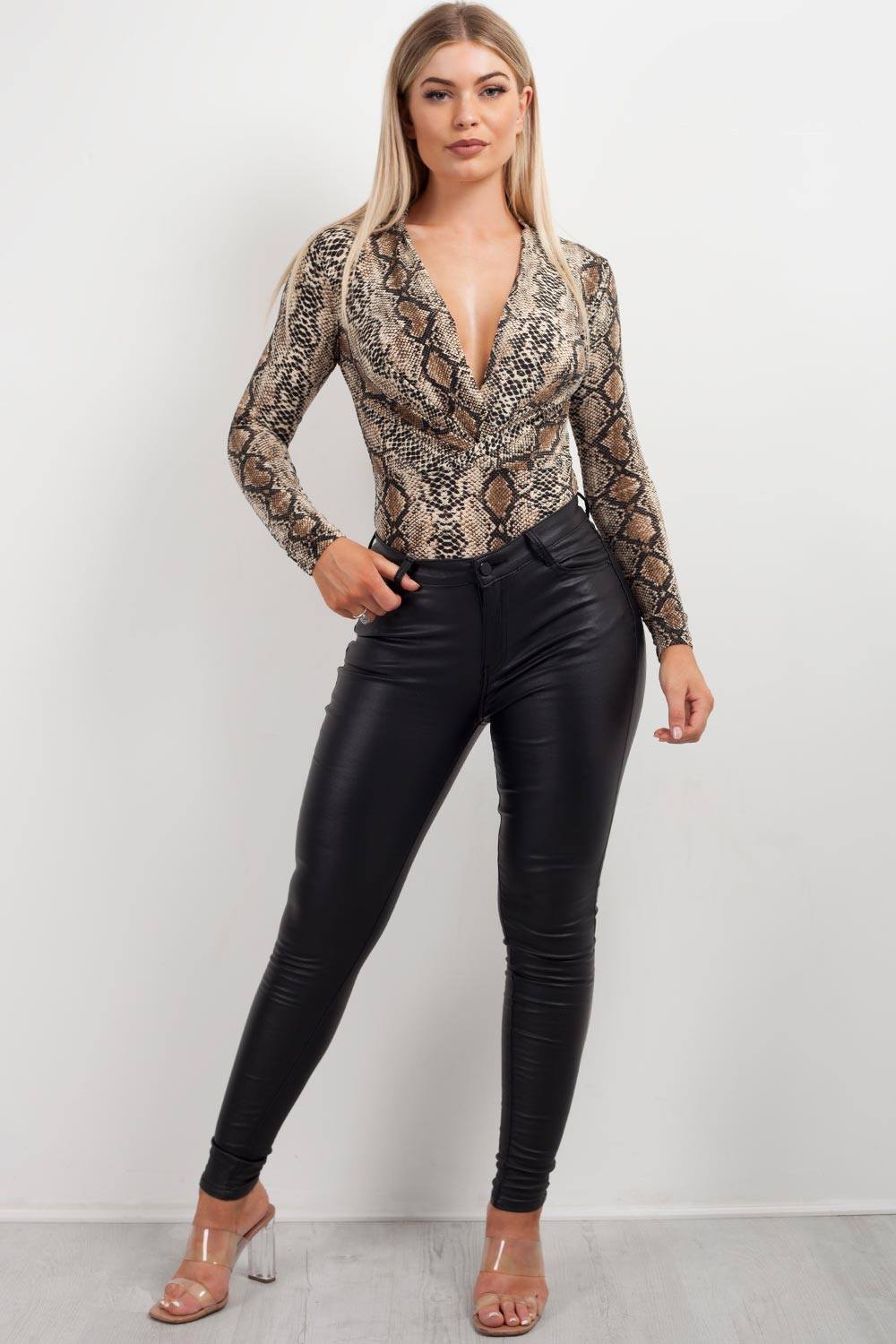 long sleeve plunge bodysuit thong snake print