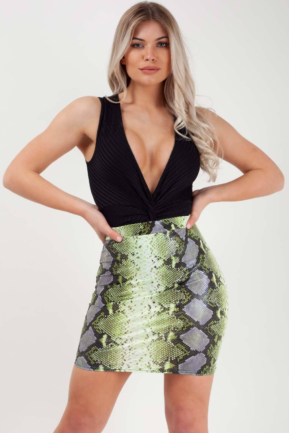 lime coated snake print mini skirt