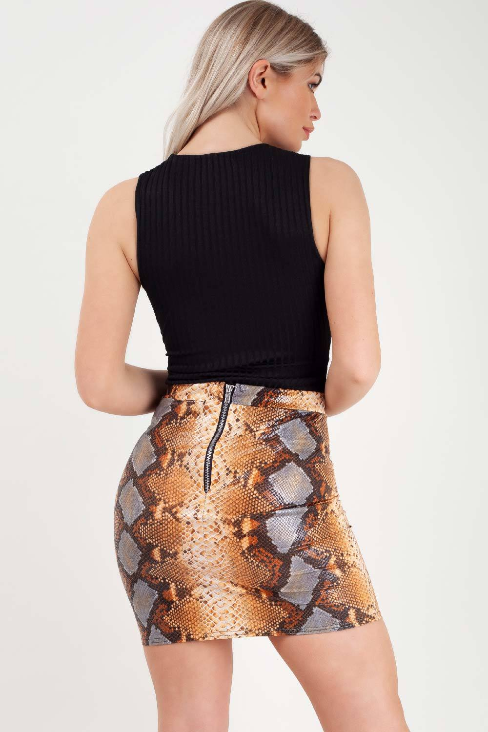 orange snake print vinyl mini skirt