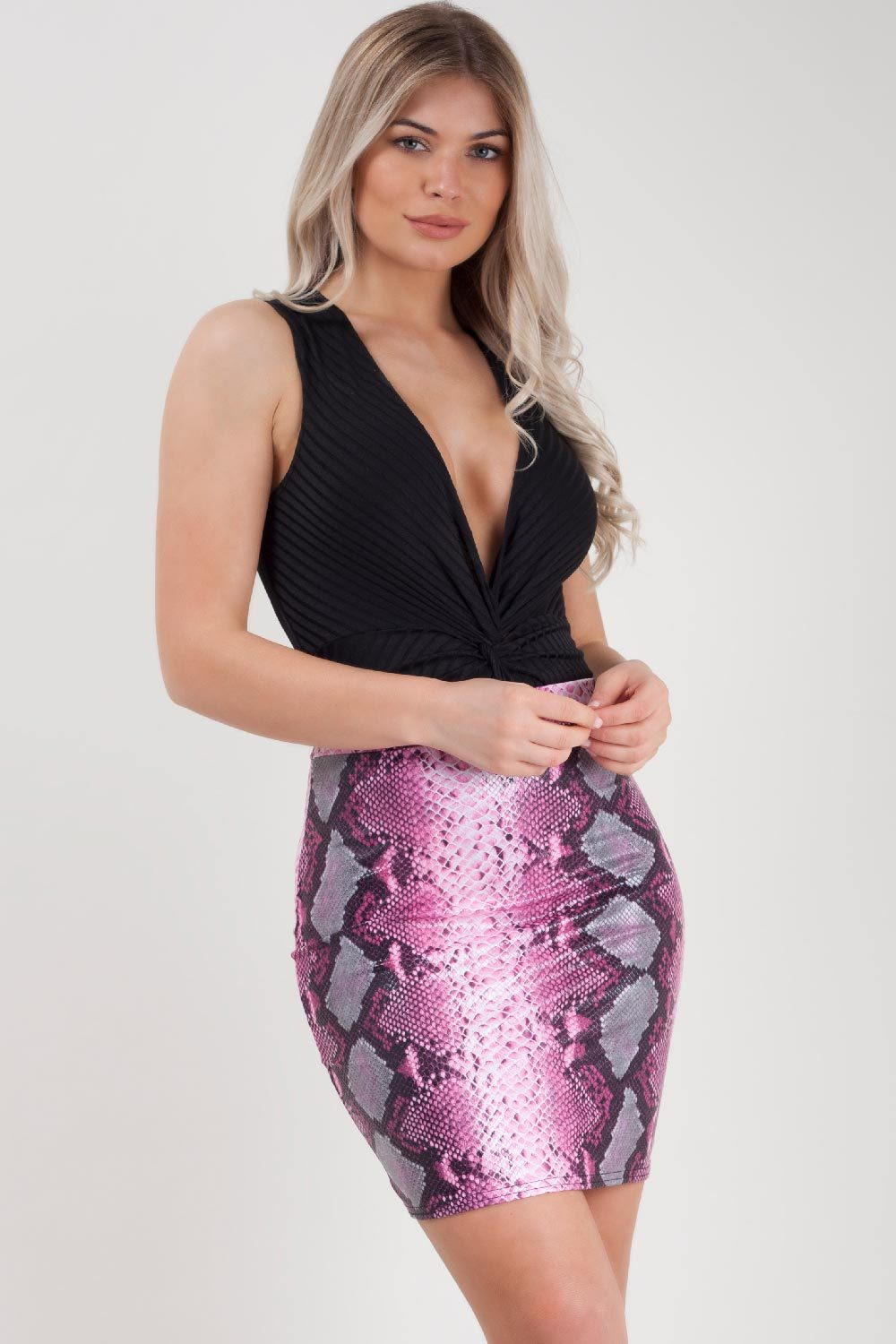 snake print bodycon mini skirt uk size 6