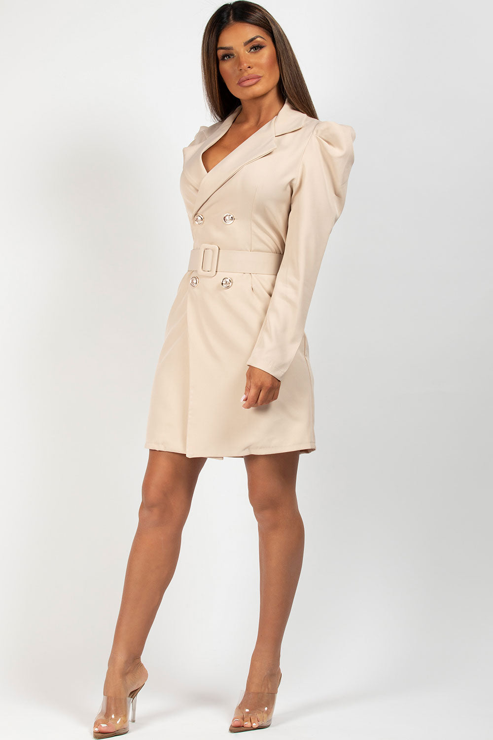 stone blazer dress with puffed sleeves