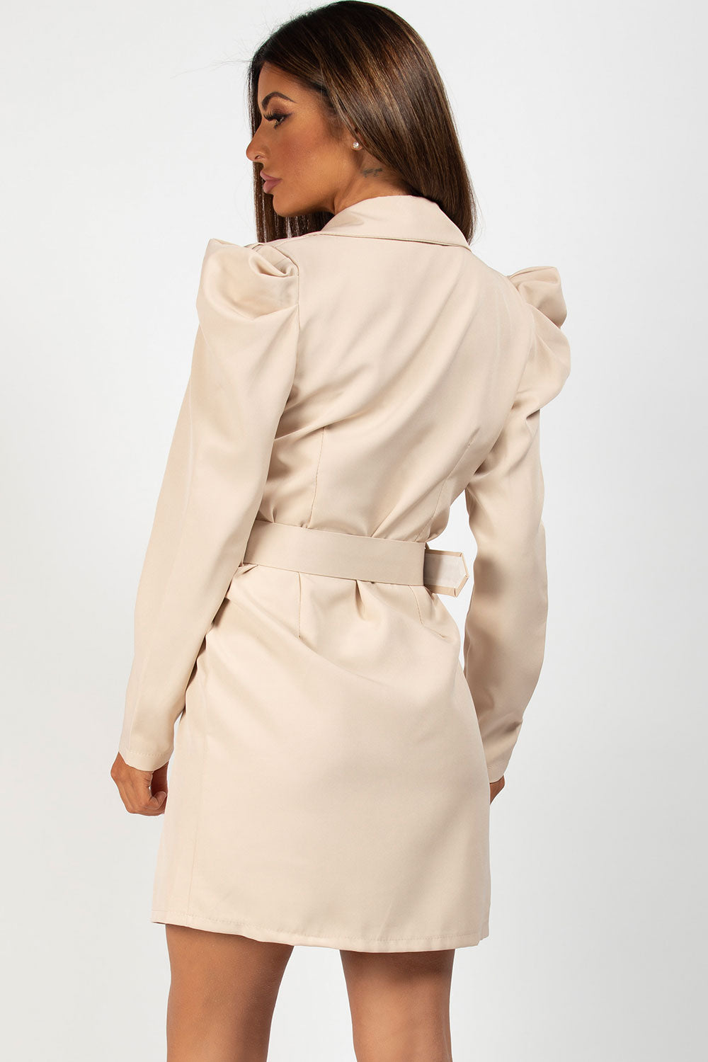 long puff sleeve blazer dress stone
