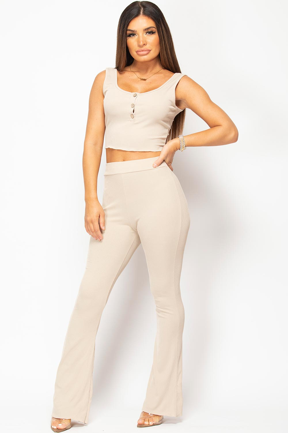 wide leg trousers and button front crop top set