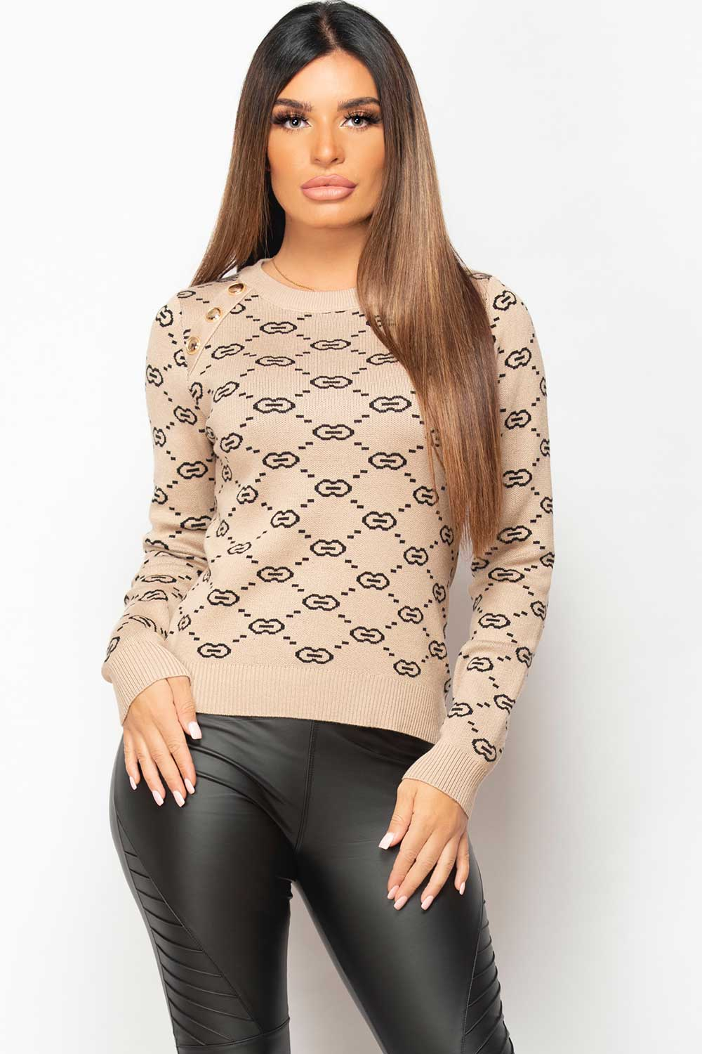 womens dressy jumper with gold button shoulder