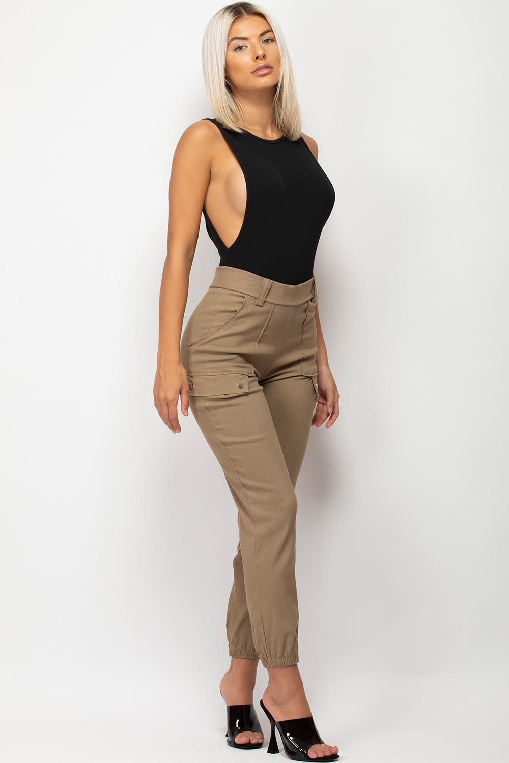 womens cargo trousers stone
