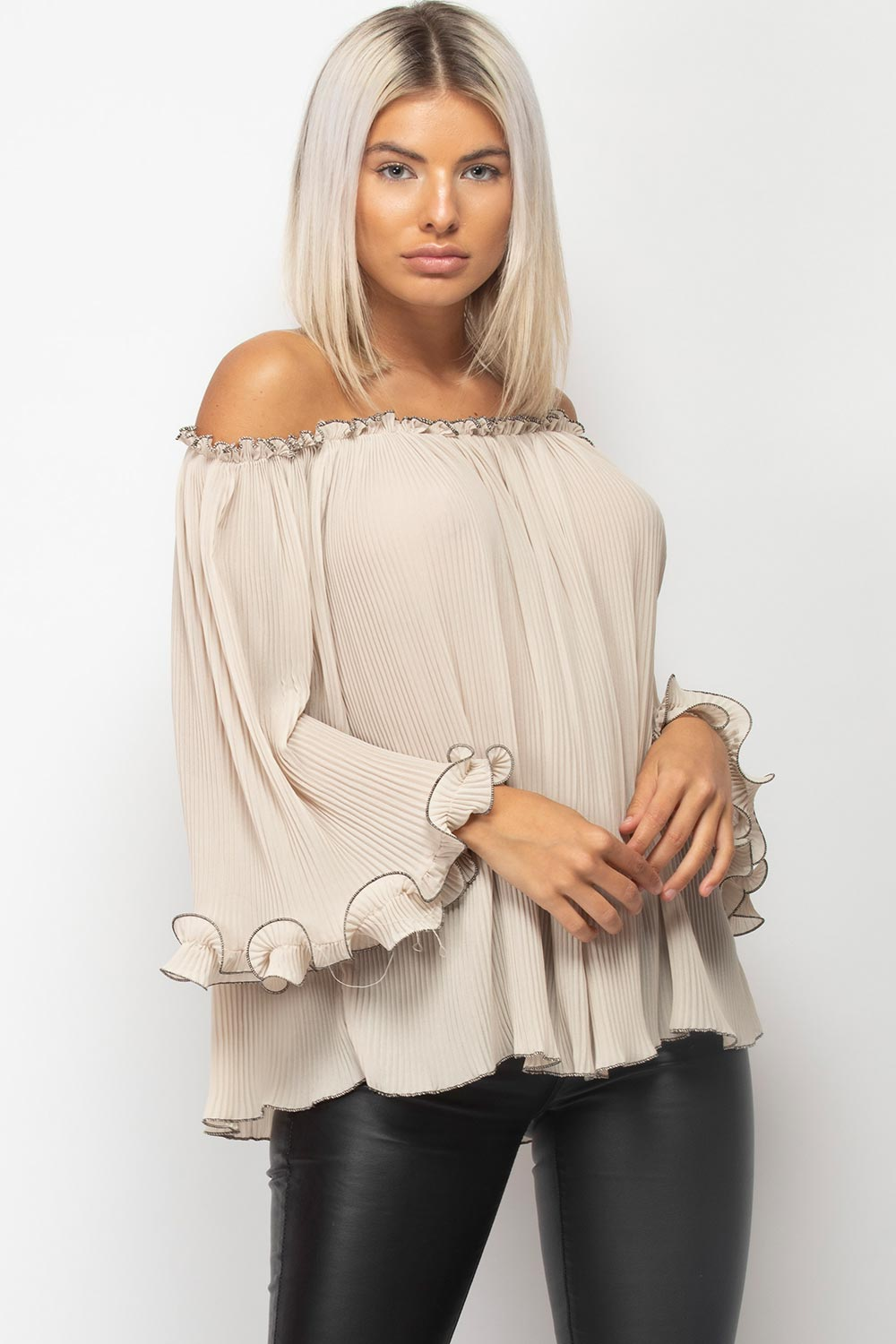 stone off shoulder long sleeve blouse