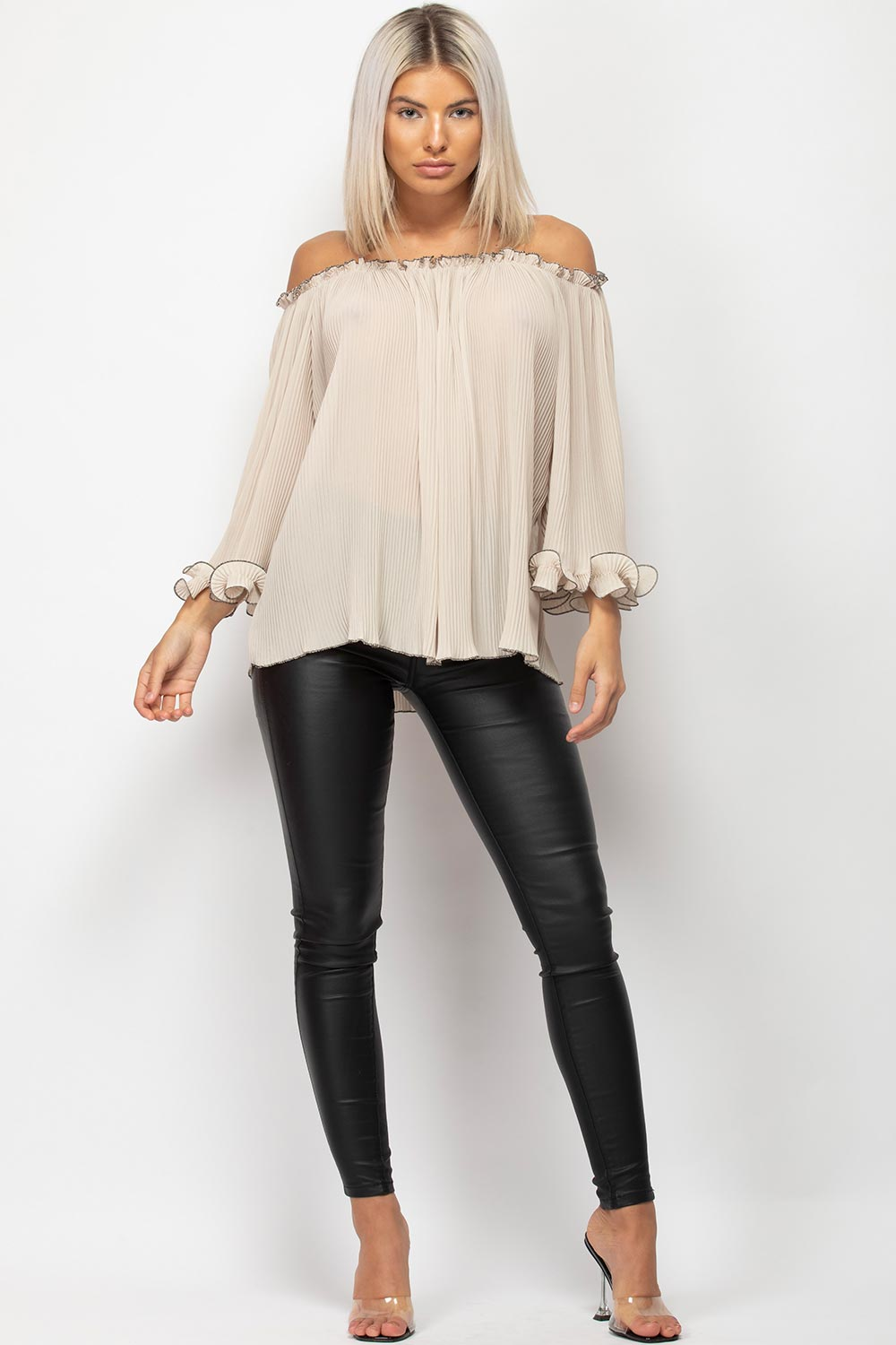 stone off shoulder crinkle top