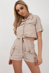 utility crop top and high waisted shorts set