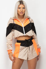 Stone Colour Block Hooded Shell Suit