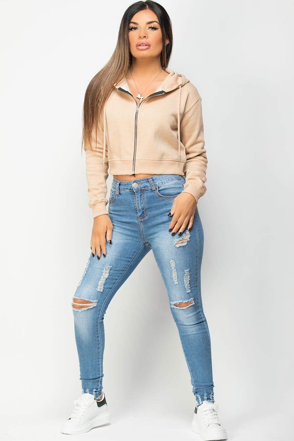crop hooded sweatshirt stone