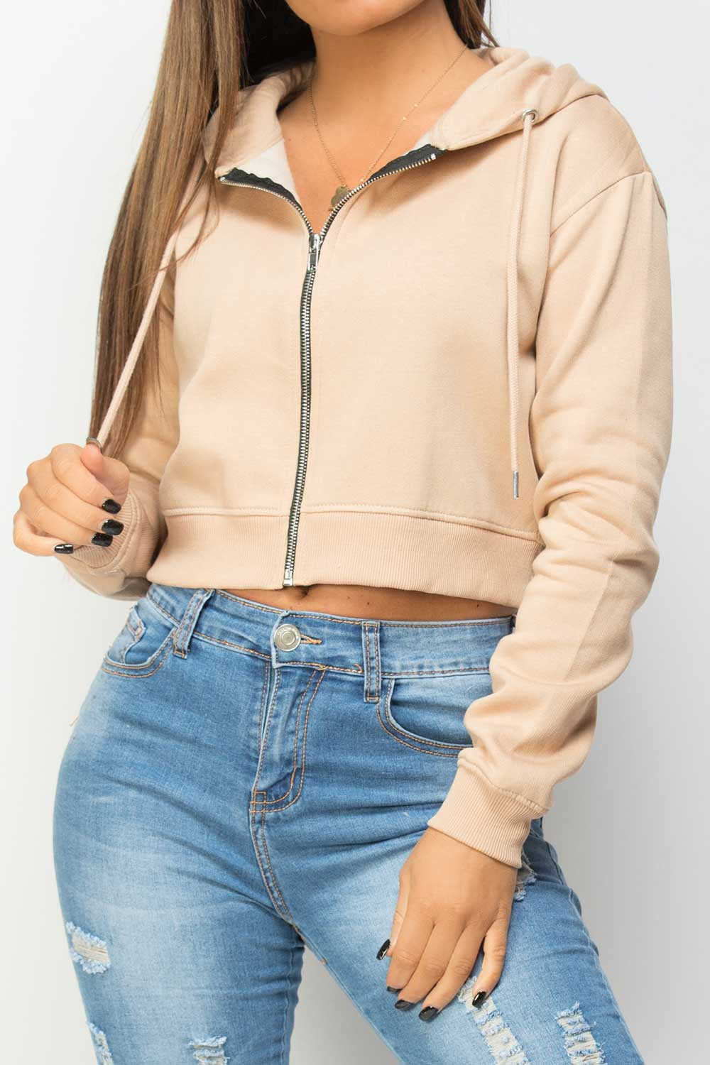 cropped zip up hooded sweatshirt