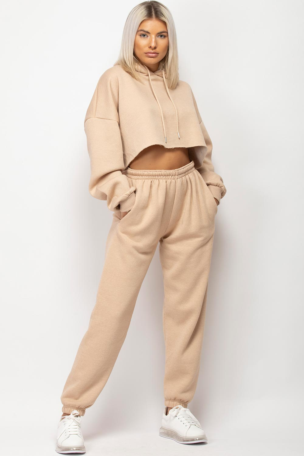 cropped hoodie and joggers set womens