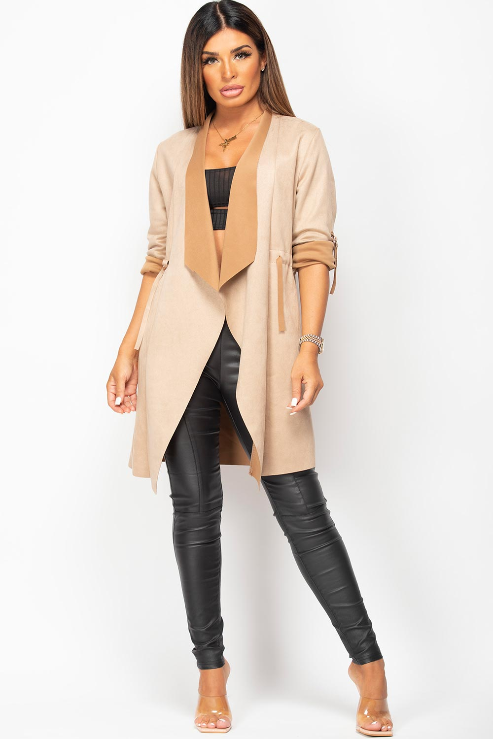 faux suede waterfall duster jacket