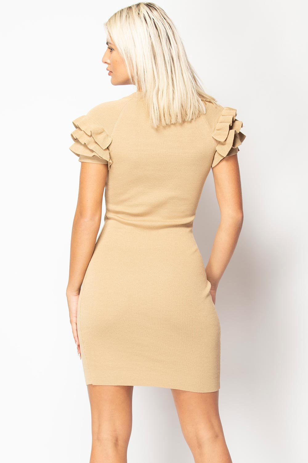 balmain inspired gold button detail dress