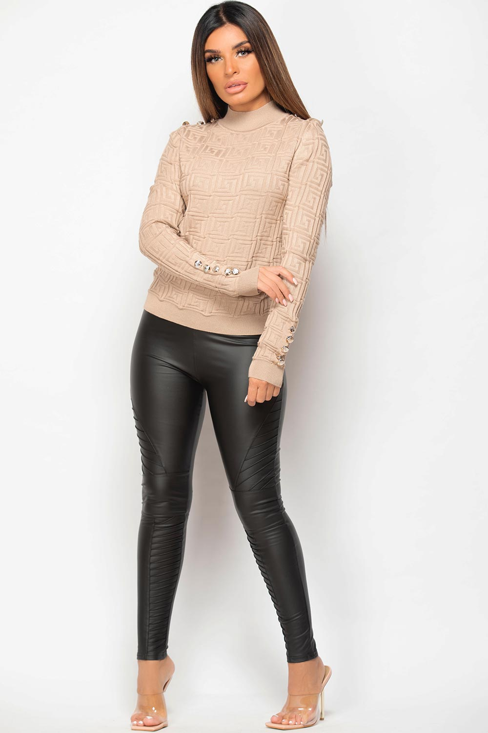 stone ribbed jumper with gold button details