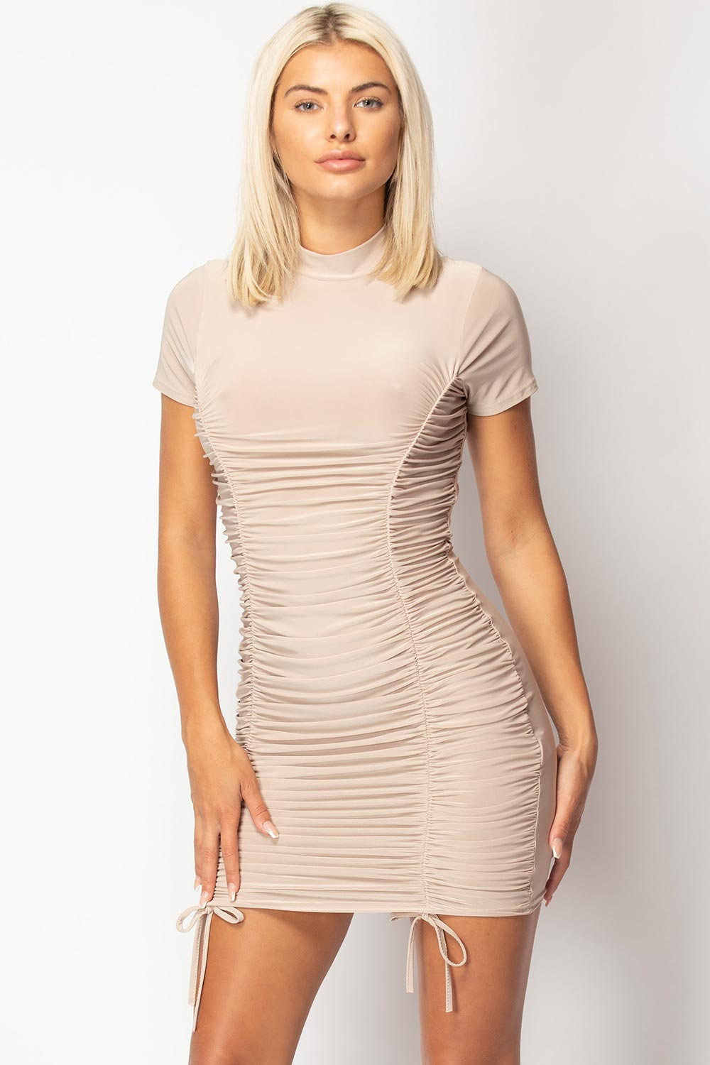 ruched side bodycon dress styledup fashion