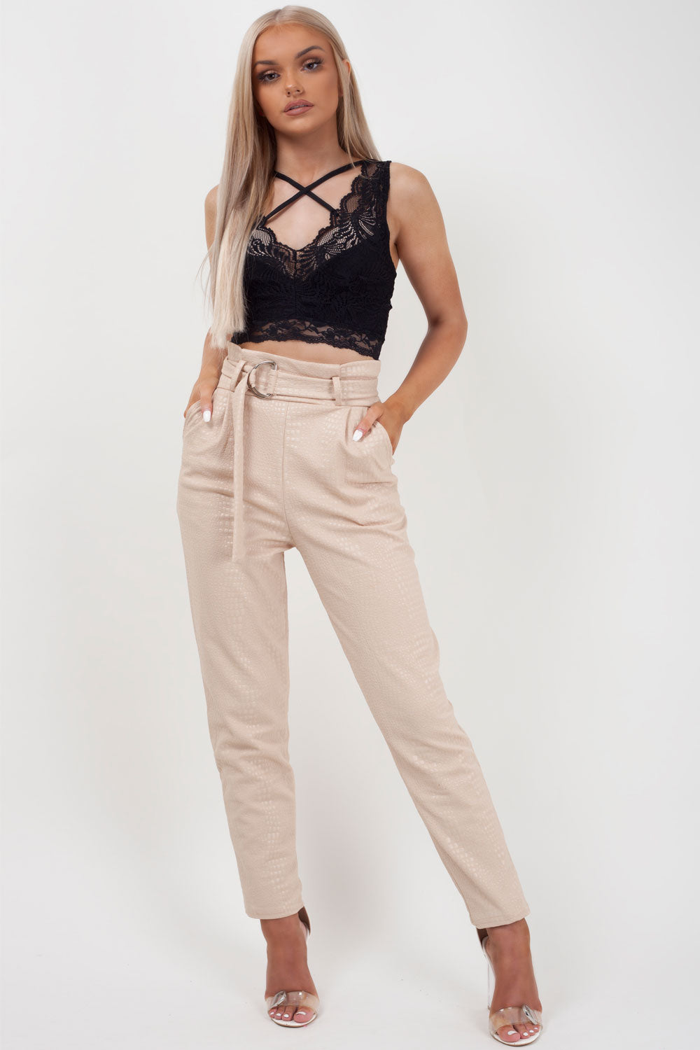 high waisted croc print trousers stone styledup fashion