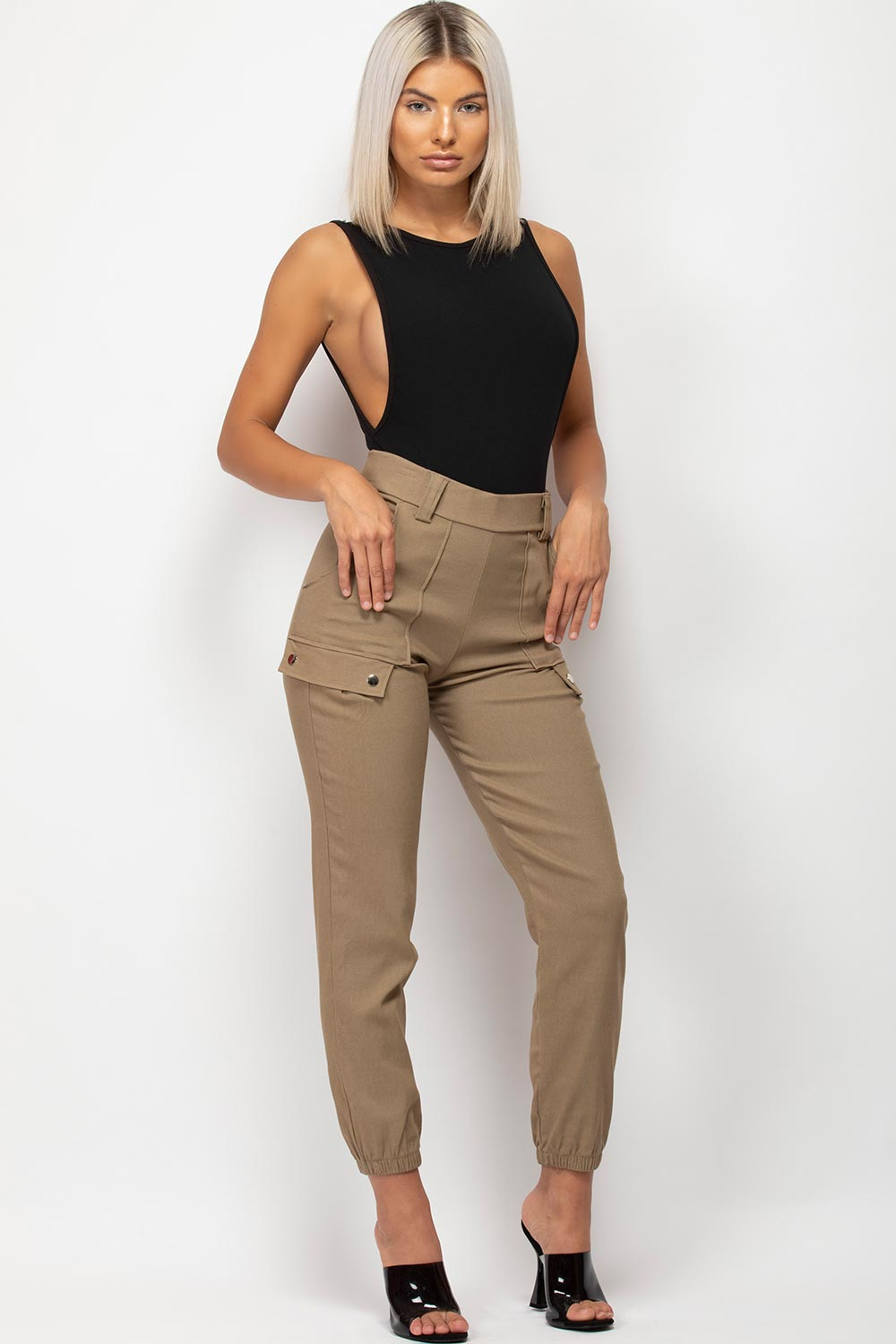 womens stone cargo trousers