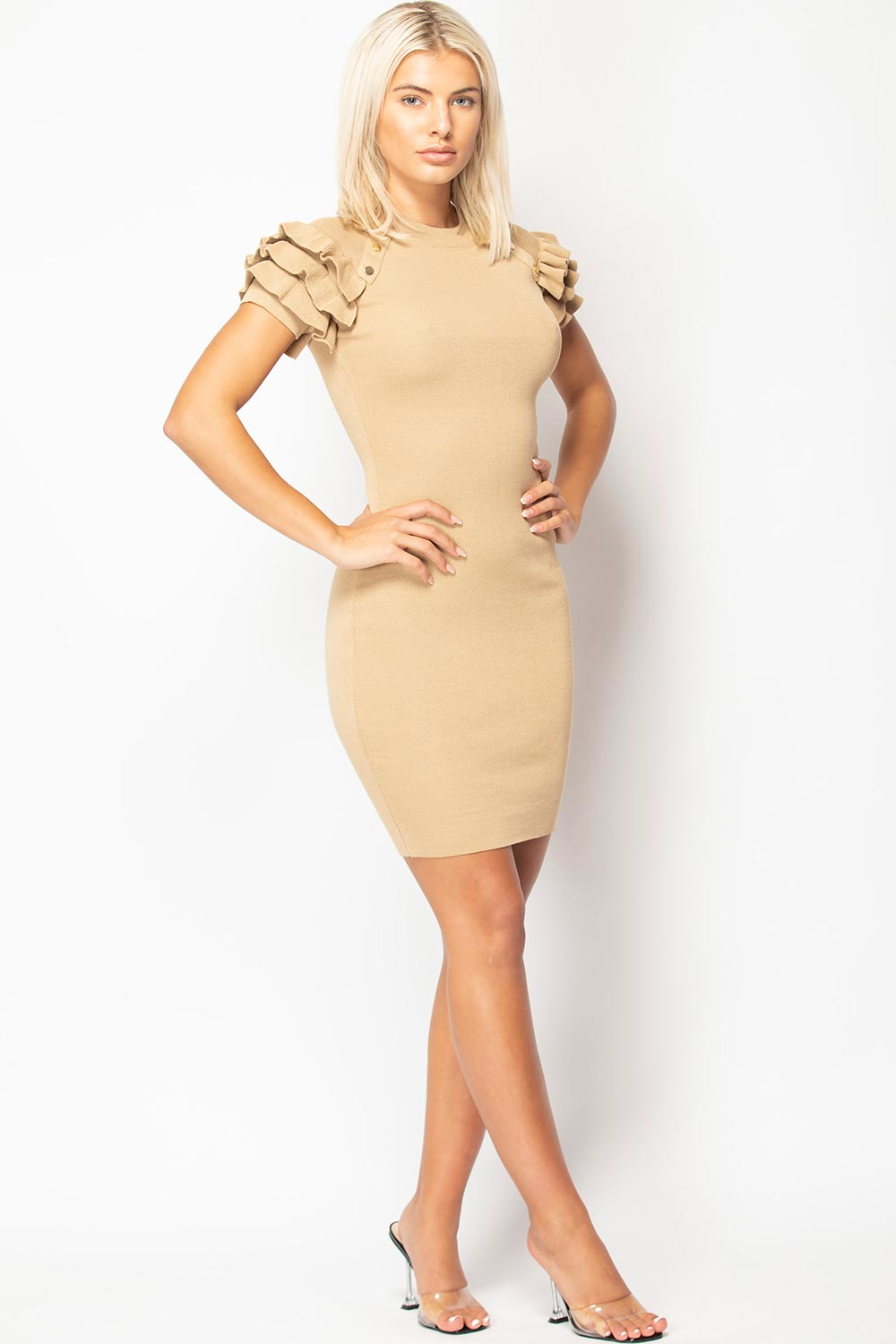 gold button detail ribbed bodycon dress