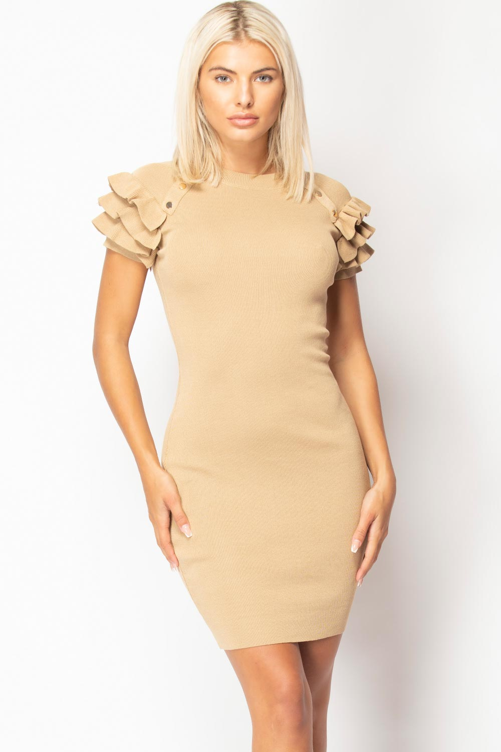 gold button detail bodycon dress