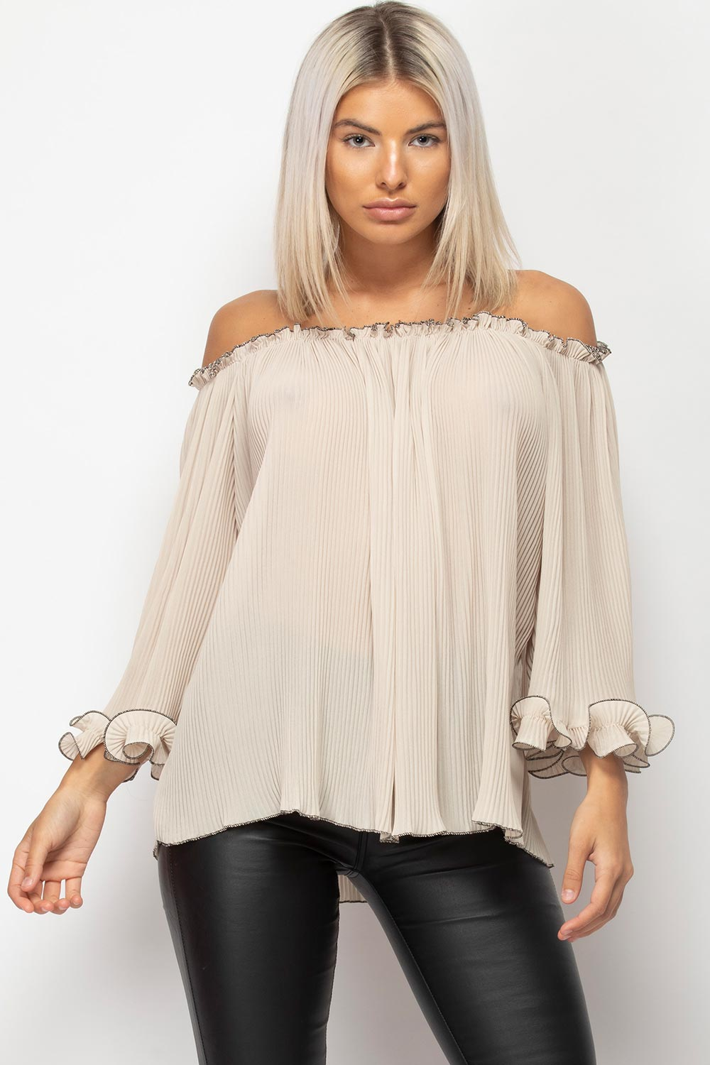 stone off shoulder chiffon blouse