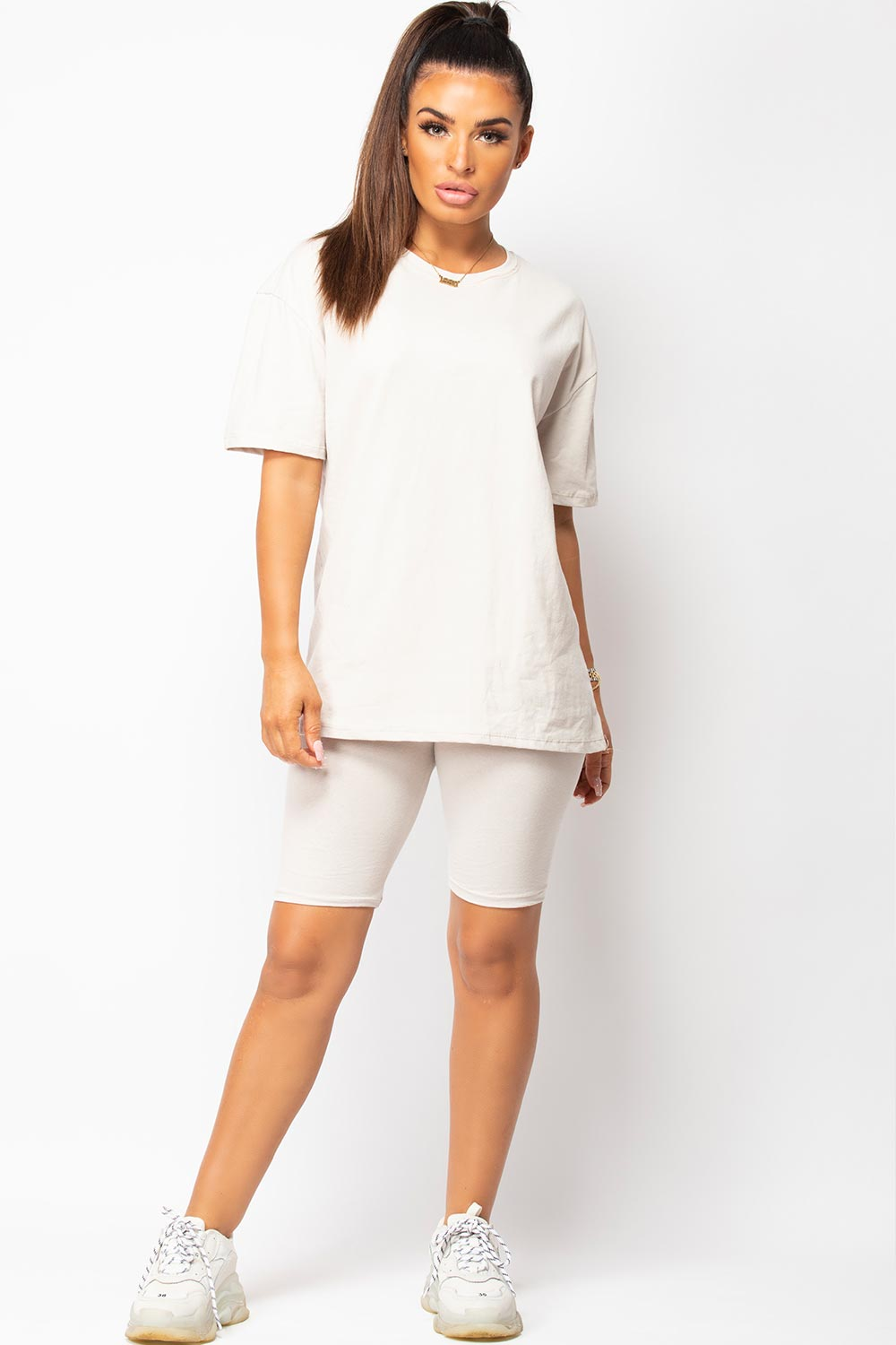 oversized t shirt and cycling shorts loungewear co ord stone