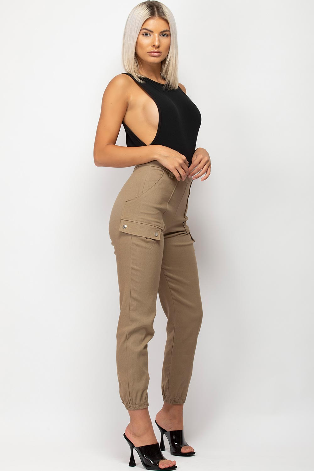 stone pocket detail cargo trousers womens