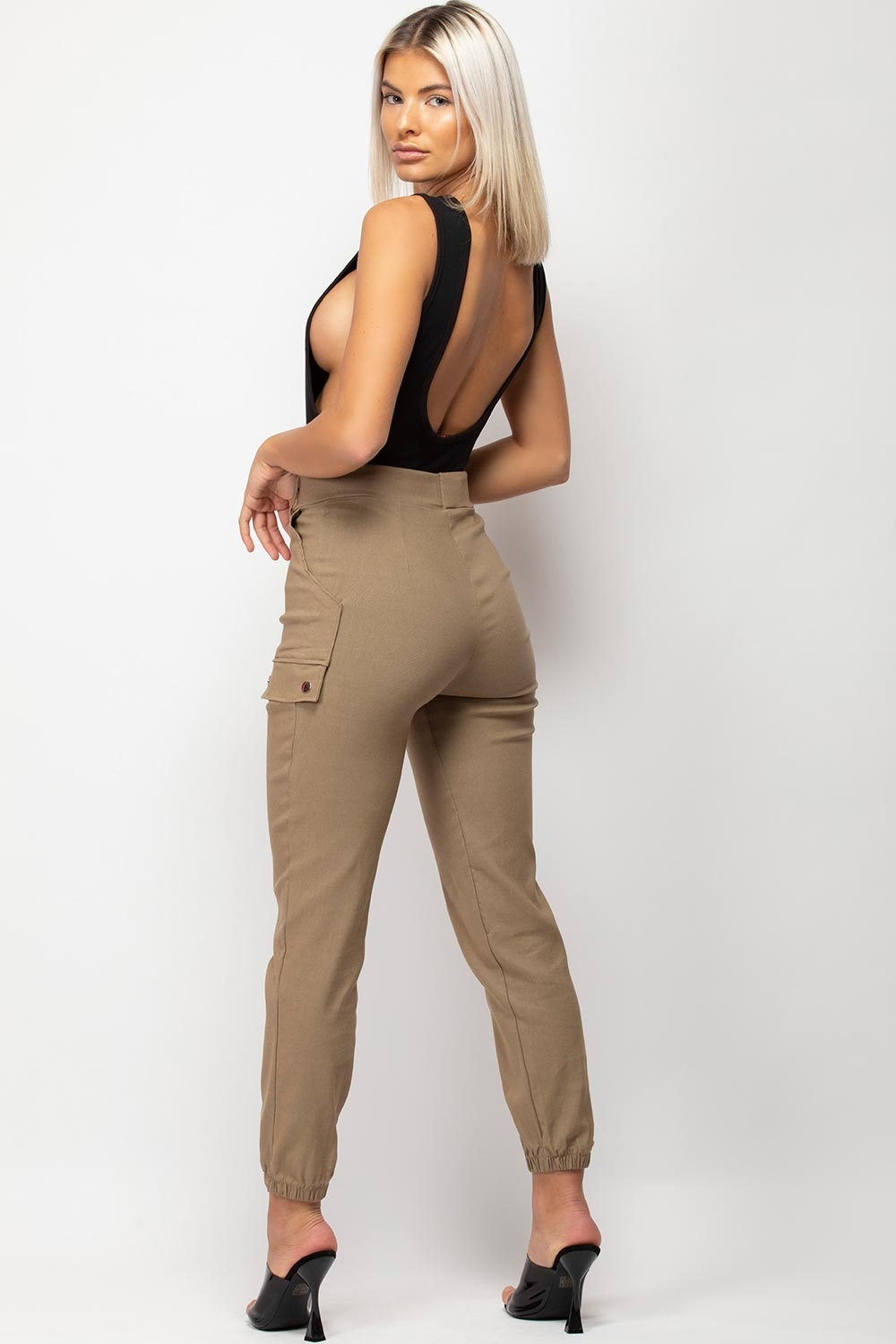 high waisted stone cargo trousers womens