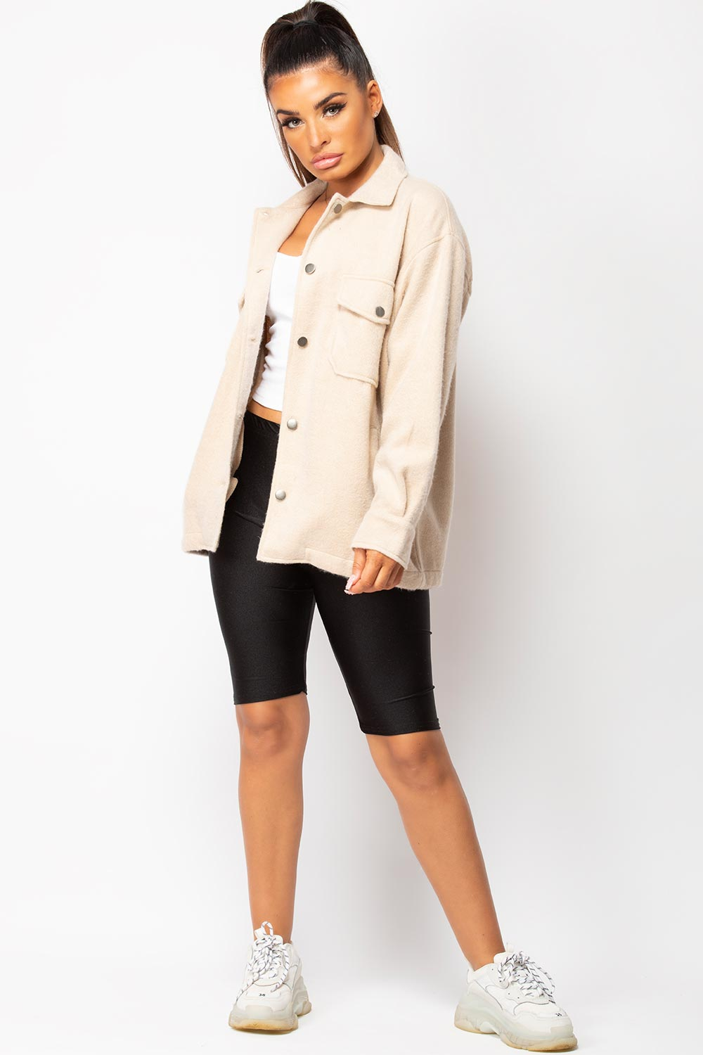 stone oversized shacket womens