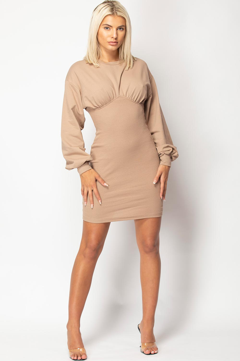 long sleeve bust detail dress