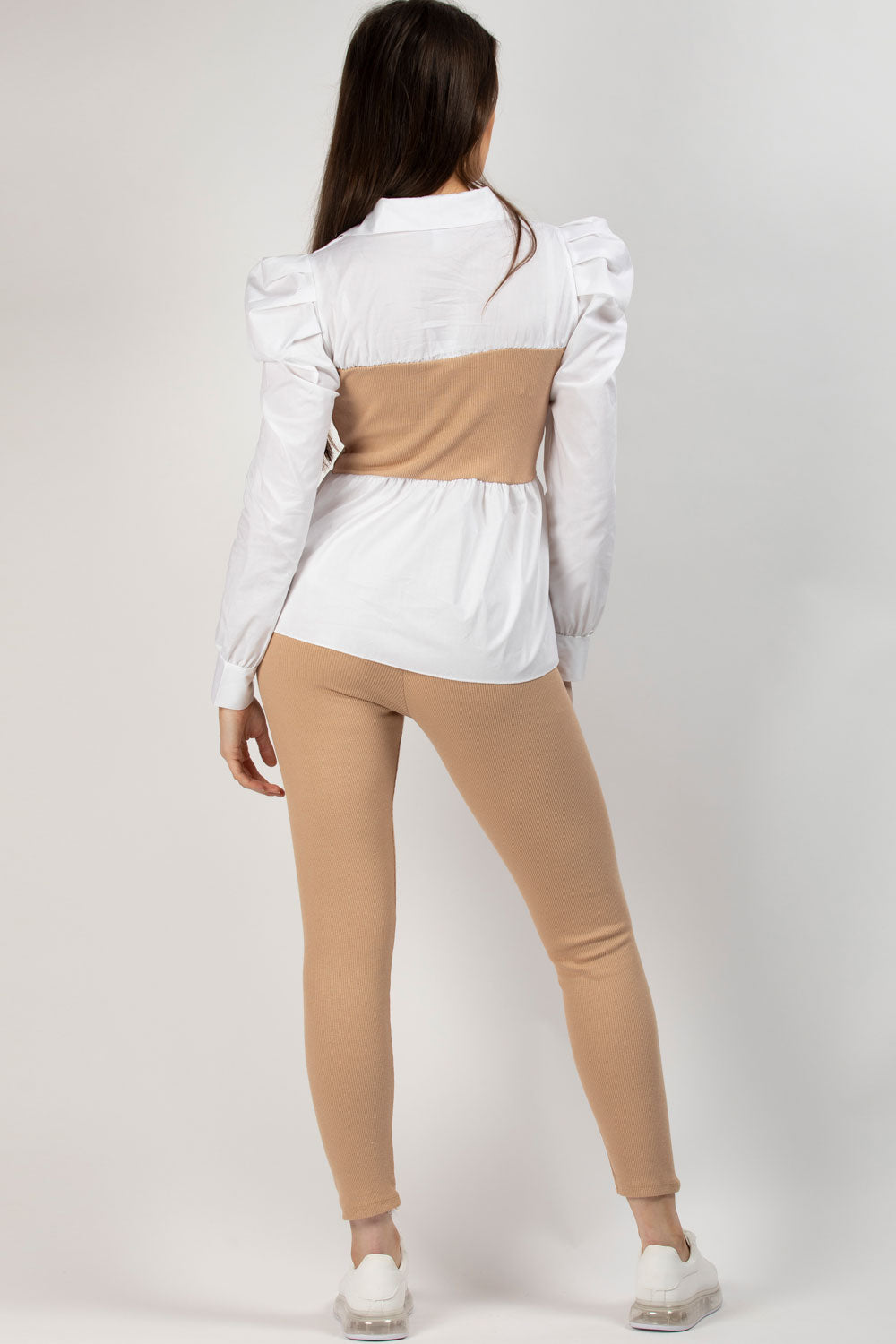 stone ribbed shirt top and leggings set