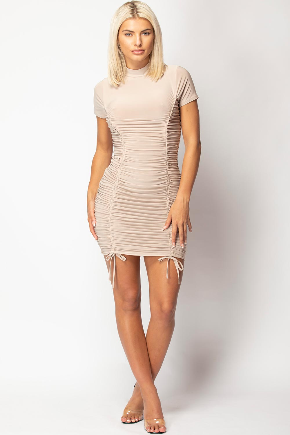 ruched tie detail bodycon dress nude