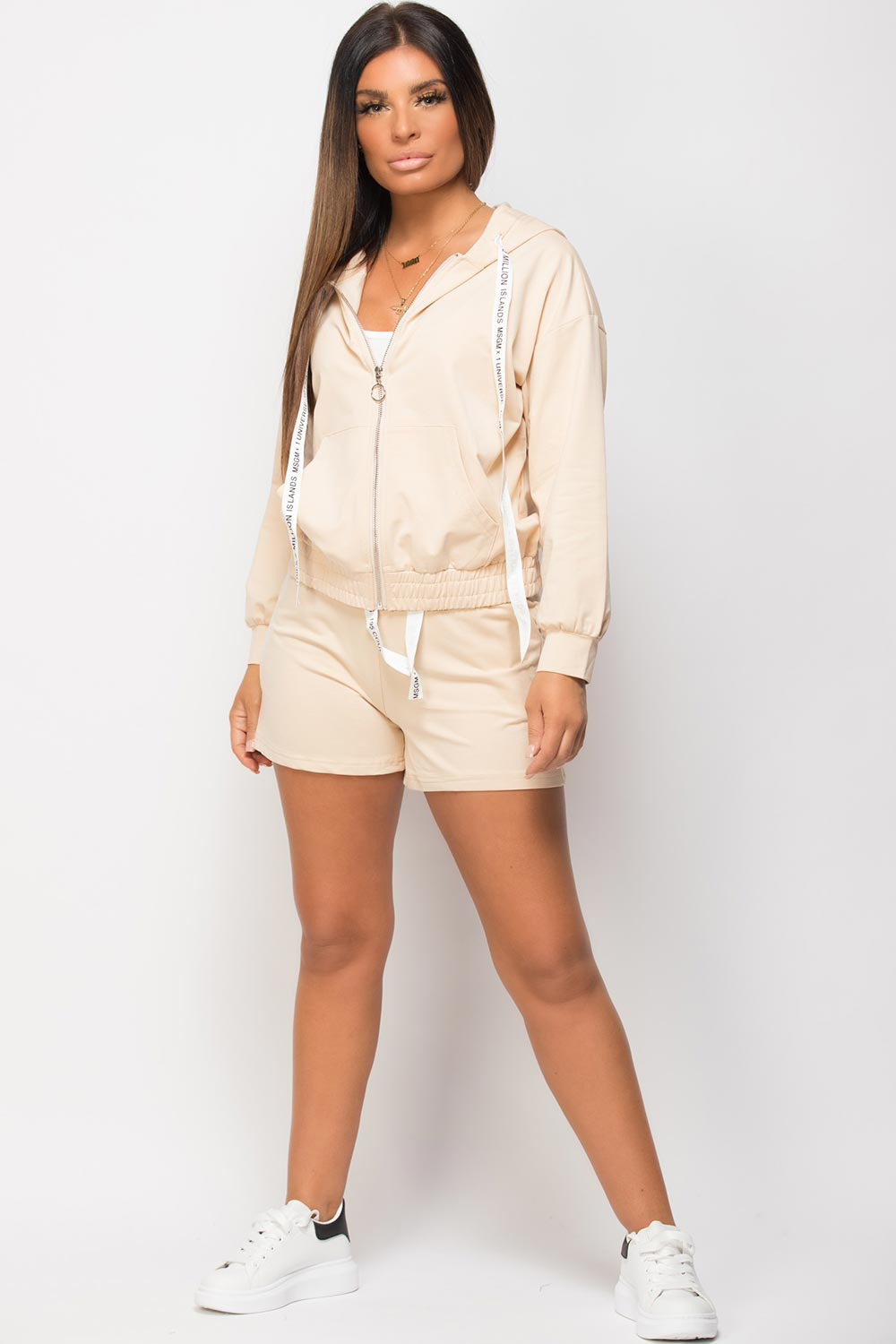 hoodie shorts and top three piece set stone