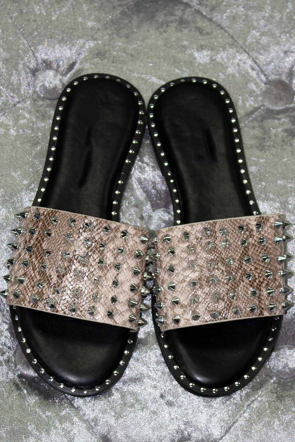 silver stud snakeskin slip on sandals
