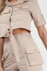 cargo shorts and crop top two piece set