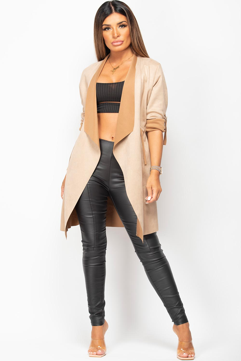 faux suede duster jacket womens