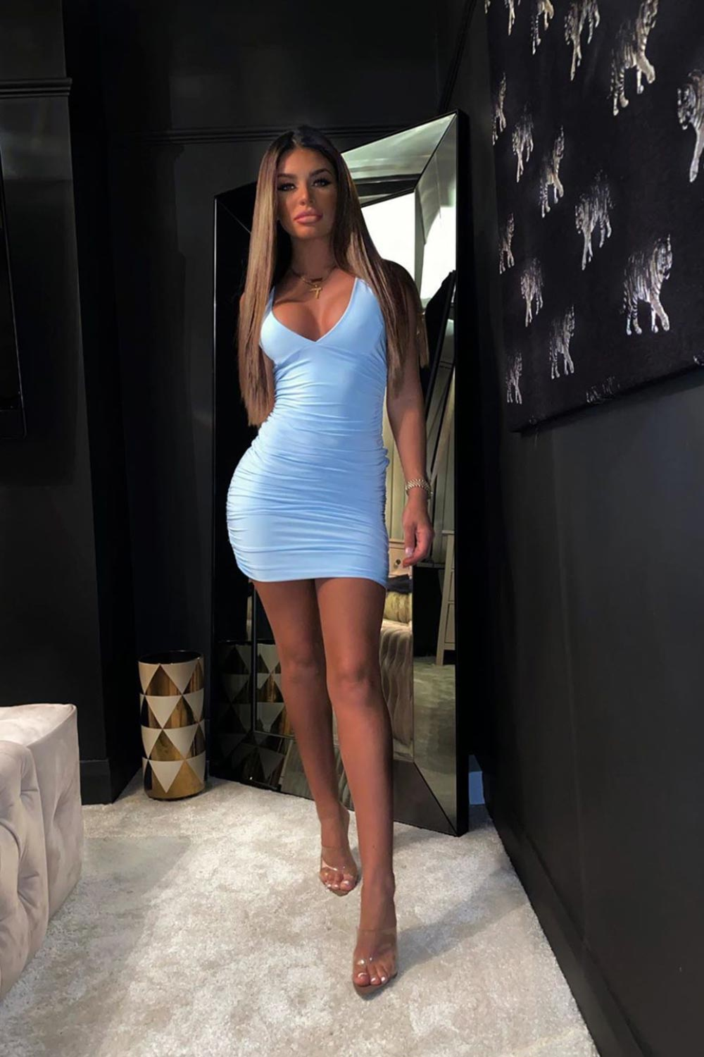 sky blue mini dress