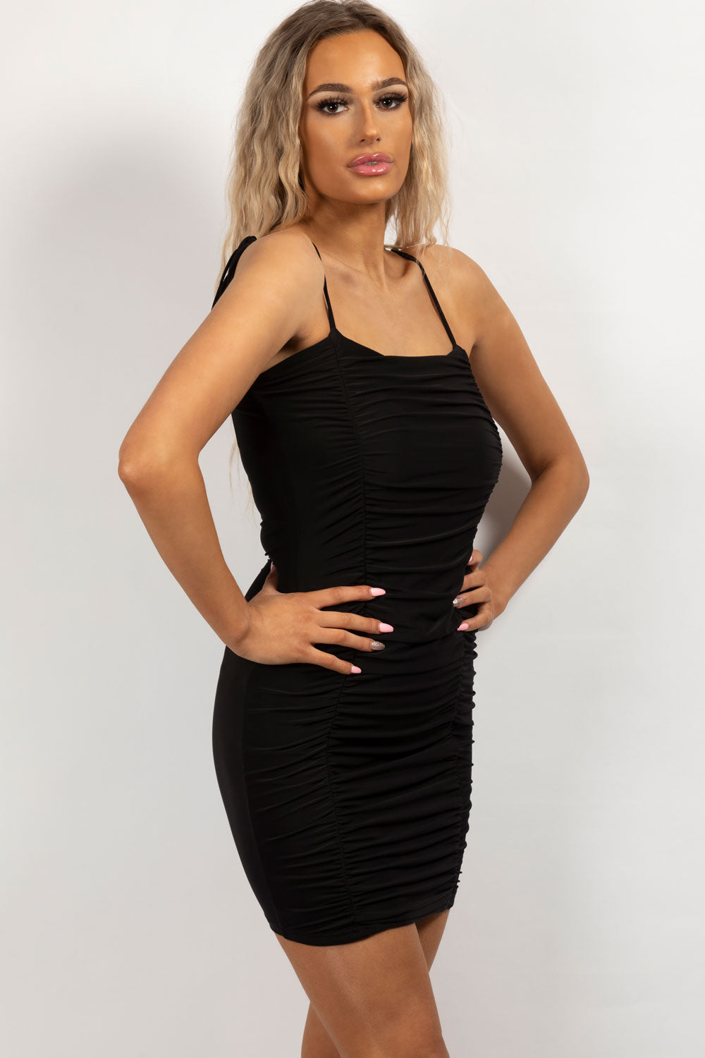 black ruched oh polly dress