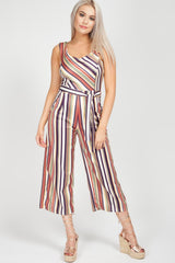 pinstripe off shoulder culotte jumpsuit uk