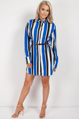 blue striped shirt dress womens