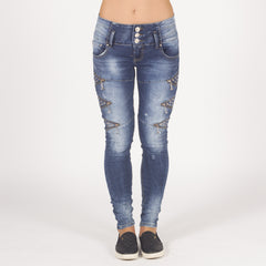 Skinny Fit Blinged Up Faded Ripped Jeans Styledup