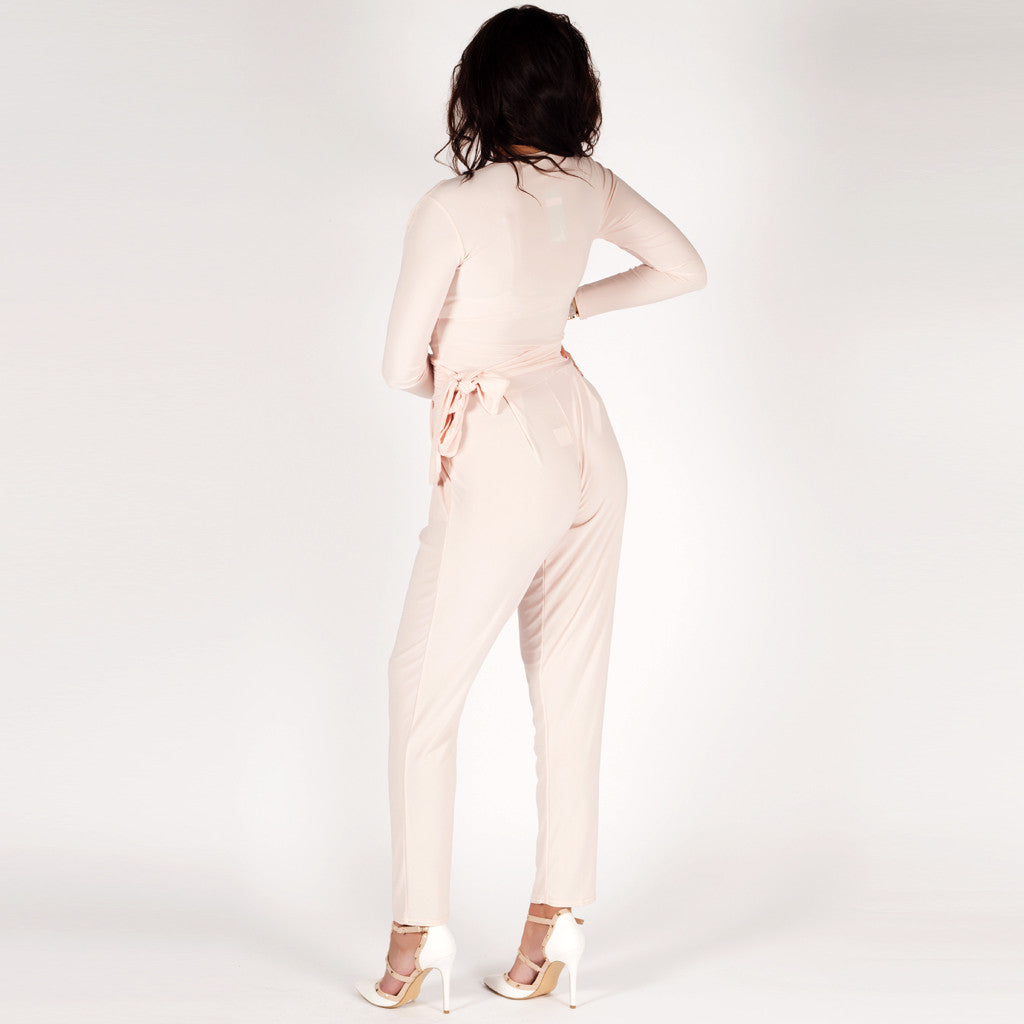 Styledup Long Sleeve Belted Jumpsuit Nude