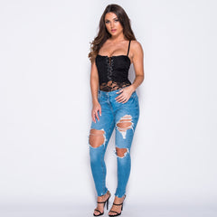 Lace Up Sleeveless Bodysuit Top Black